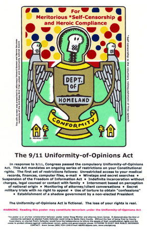 Doug Minkler's painting of Dept. of Homeland Conformity